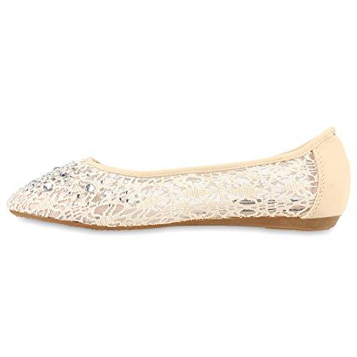 Stiefelparadies Damen Ballerinas Slipper Flache Schuhe Spitze Häkeloptik Feminine Slip-Ons Stoffschuhe Strass Metallic Flandell Nude Steinchen