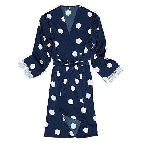 Dot Robe (Frauen Sexy Satin Nachthemd Lange Robe Sommermode Dot Lace Side Pyjamas Robe Home Service)