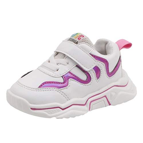 Alwayswin Kinder Jungen Mädchen Sport Turnschuhe Atmungsaktive Laufschuhe Bequeme Sneakers mit Weichem Boden Klettverschluss Sportschuhe Mode Outdoor Kinderschuhe -
