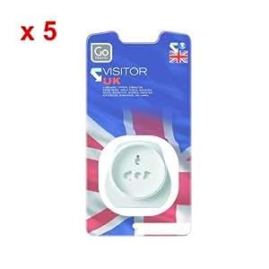 Go Travel Uk Visitor Plug Adaptor x 5