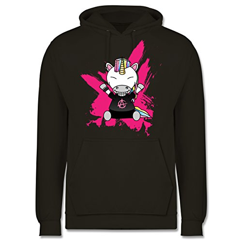 Comic Shirts Punk Einhorn Männer Premium Kapuzenpullover / Hoodie Olivgrün