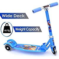 Royals Hub® 3-Wheel Height Adjustable Folding Kick Kids Scooty Scooter Tricycle for Indoor & Outdoor Fun with with Brake, Bell, LED (Stronger Scooter in Curved Shape)