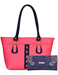 Fristo Women Handbag And Wallet Combo(FRWC-020)Pink And Blue