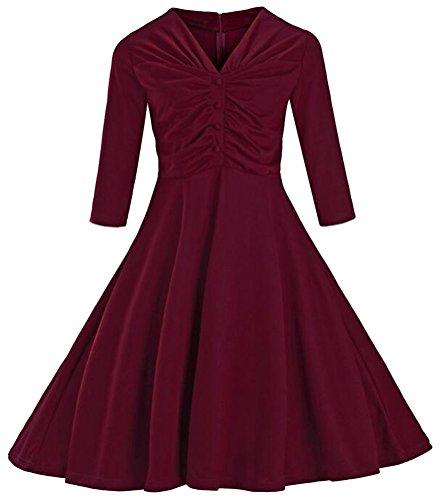 Brinny Ann¨¦es 50 Stle Rockabilly / Swing / Pin UP Drapee Coton Robe De Soiree Femme Robe Jupe VineRouge