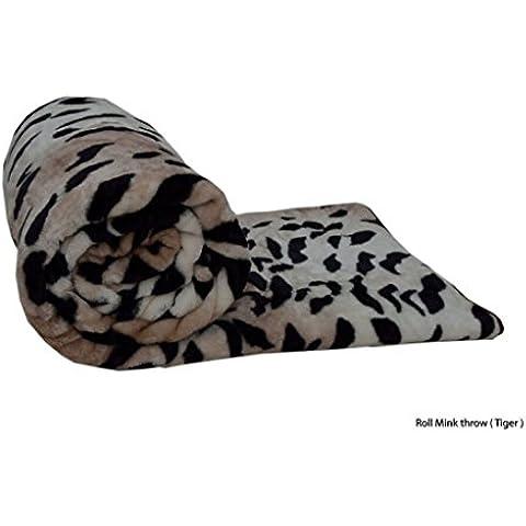Faux Fur Throws forro polar manta visón suave sofá cama de lujo doble KING Cálido grande, 100% poliéster, tigre, DOUBLE 150X200CM
