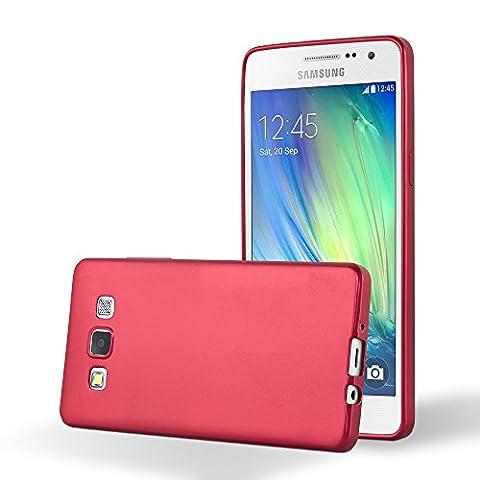 Cadorabo - Ultra Slim TPU Gel (silicone) Coque Métallique Mat pour Samsung Galaxy A5 (5) - Modèle 2015 - Housse Case Cover Bumper en METALLIC-ROUGE