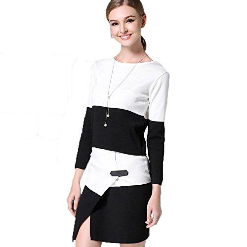 skirt suit banda maglione Primavera e Autunno Hit colore , black and white , free