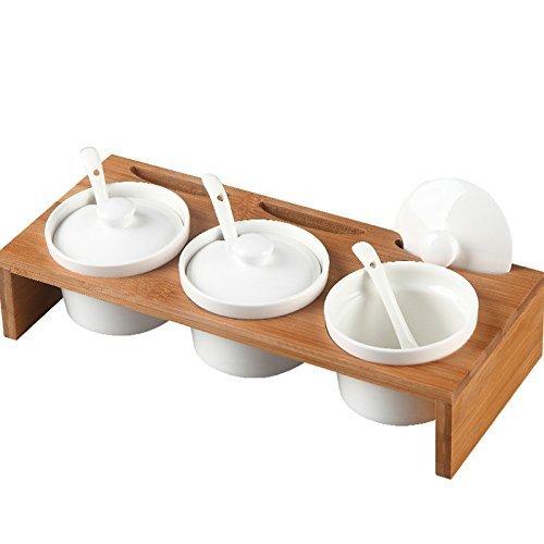 DecentGadget® Special Shape Set of 3 Ceramic Condiment Pots Spice Serving Jars Seasoning container with Serving Spoons & Bamboo Stand//Gewürzgläser Gewürzdosen Gewürzregal (Stool type) Serving Set