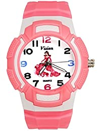 Vizion Analog Multi-Color Dial ( BARBIE-The Rose Queen) Cartoon Character Pink Watch for Girls- 8565AQ-3-1