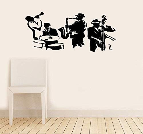Wandtattoo Kinderzimmer Jazz Saxophon Instrument Werkzeug Band Musikalischer Spieler Aufkleber Schlagzeug Bass (Instrumente, Musikalische Bass)