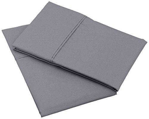 VICTORIA BEDDING Set of 2 Pillowcases, 50x70 cm, Dark Grey Solid 100%...