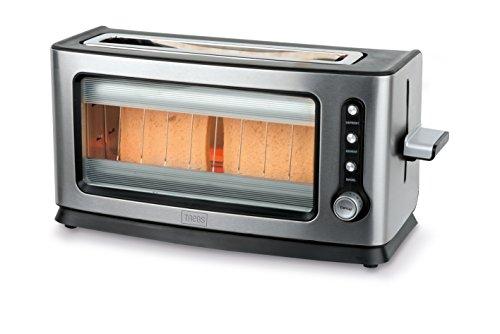 Trebs 99320 Infrarot Automatik-Toaster mit Sichtfenster im Edelstahldesign, 7 Bräunungsstufen, für bis zu 2 Toastscheiben, Brotlift, Krümelfach, Auftauen, Rösten, Aufwärmen, Warmhaltefunktion, 900 Watt