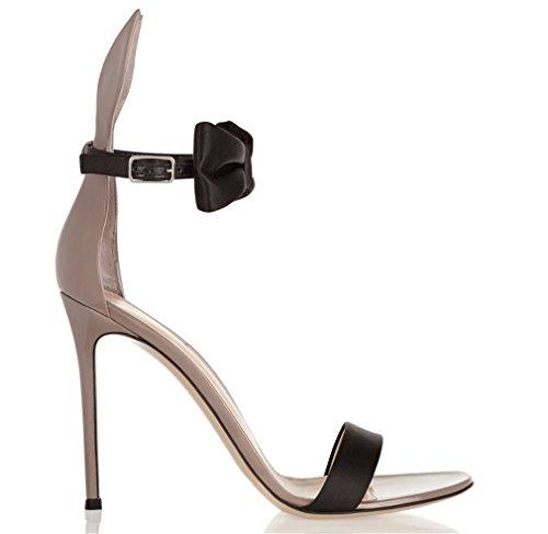 (LUCKY CLOVER-A Plus Größe High Heels Sandalen Hippie Satin Metall Stil Sommer Stöckel Absatz Strass Übergroße Schuhe, EU34-46,EU36)