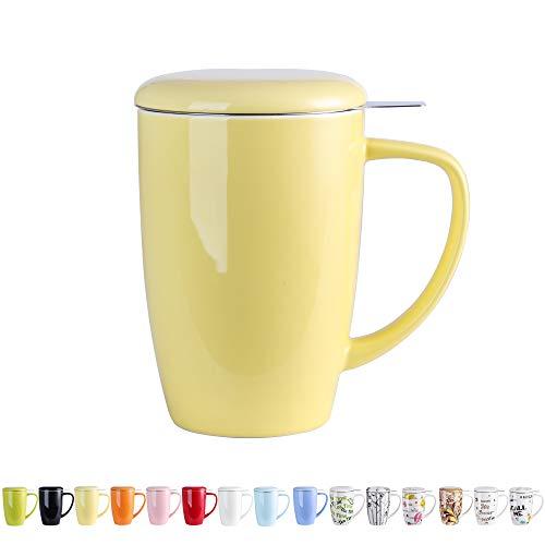 LOVECASA Porzellan Teetasse, mit Deckel und Edelstahl Teesieb, 450 ml Tee Becher, Gelb, Kaffeetassen