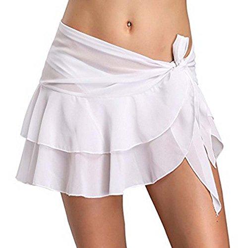 Double-layer Tunika (Metyou Frauen Badeanzug Wickelkleid Rock Bademode Chiffon Schal Strand Sarong Bikini Vertuschen (Double Layer White))