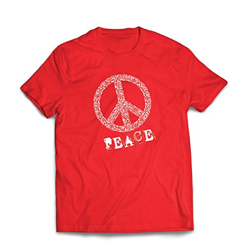 (Männer T-Shirt FRIEDENSsymbol - 1960er Jahre 1970er Jahre Hippie Hippie, Street-Kleidung, Friedenszeichen, Sommer Festival Hipster Swag (Small Rot Mehrfarben))