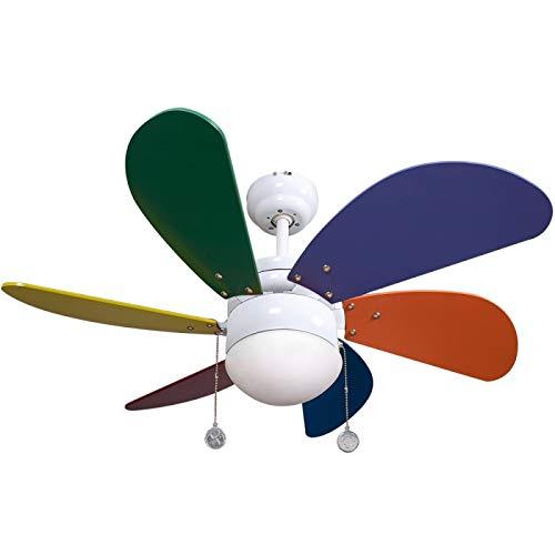 FABRILAMP Ventilador de Techo Infantil. 6 Aspas. Colores. 1xE27. 77 cm Diámetro.