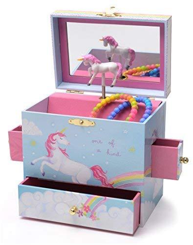 JewelKeeper - Caja Joyero Musical con Unicornio y Arcoíris, Equipado de 3 Cajones Extraíbles - Melodía The Unicorn