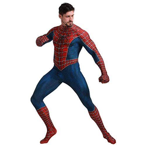 Xiaodun77 Herren Superheld Spiderman Kostüme Erwachsene Spiderman Overall Body Halloween Cosplay Kostüme für Herren abnehmbare - Machen Sie Ein Kind Im Superhelden Kostüm