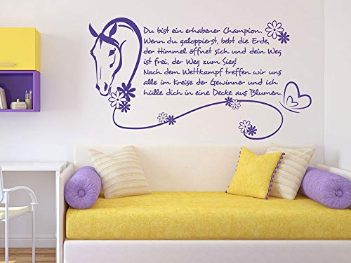GRAZDesign Wandtattoo Pferde Gedicht Spruch Wettkapf Wandaufkleber Pferdetattoo / 104x57cm / 081 Hellbraun