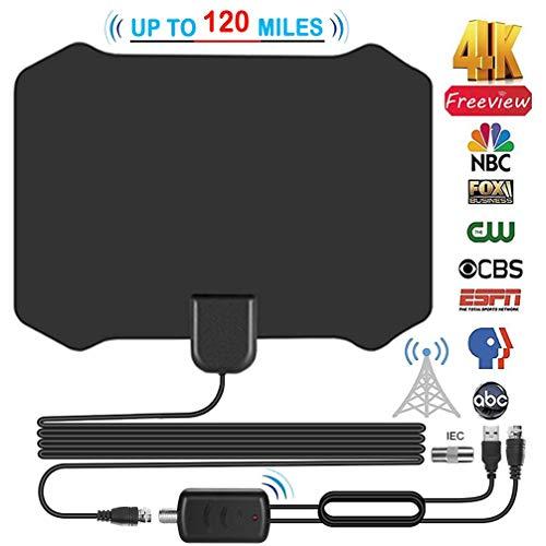 TV Antenne, 120 Miles Digitale HDTV-Antenne mit Signalverstärker für Alle Arten von Home Smart Fernseher DVB-T, Zimmerantenne für Fernseher VHF UHF