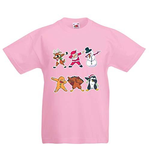 lepni.me Kinder Jungen/Mädchen T-Shirt Weihnachts Dab - Dabbing Weihnachtsmann-Rotwild-Schneemann (5-6 Years Pink Mehrfarben)