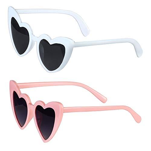 Haichen herzförmige Sonnenbrille Vintage Cat Eye Mod Stil Party Sonnenbrille Retro Transparent randlose Brille für Frauen und Mädchen (B)