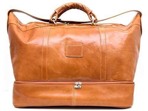 fafd2f0594 Borsone pelle bagaglio a mano borsa viaggio con manici e tracolla vera pelle  miele borsone palestra ...