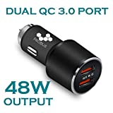 #5: Probus Dual USB Quick Charge 3.0 Qualcomm Certified Car Charger [4X Faster Charging] [7.2 Amp] [Max Output 48W] - Black