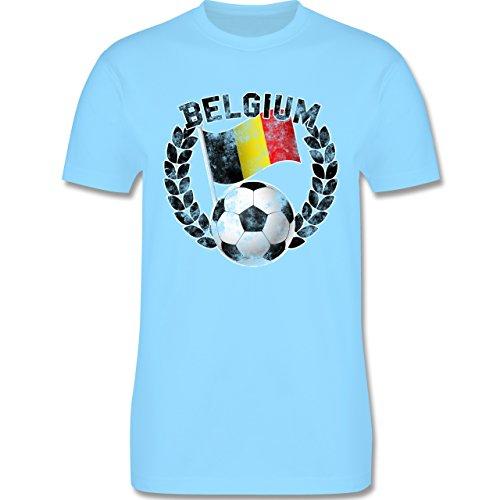 EM 2016 - Frankreich - Belgium Flagge & Fußball Vintage - Herren Premium T-Shirt Hellblau