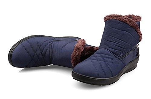 Fortuning's JDS Damen Winter Wasserdicht Anti Rutsch Pelz Samt Thermisch seitlicher Reißverschluss Stiefeletten Mutter Schuhe Schneestiefel Blau
