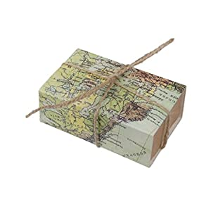 Suxian aprox. 50 pcs creativo papel Kraft Mapa del mundo cajones Wedding Favors Candy cajas de regalo