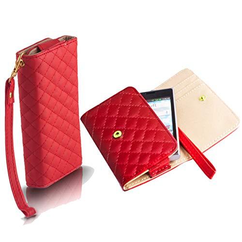 Handyschale24 Wallet Case für Lenovo A5000 Handytasche Rot Schutzhülle Tasche Slim Cover Etui Portemonnaie Bookcase Etui