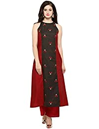 Inddus Red & Grey Chanderi Cotton Kurta/Women Festive Wear