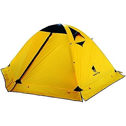 GEERTOP Tenda da Campeggio Impermeabile Leggera Protezione UV - 2 Persone 4 Stagioni - 140 x 210 x 115 cm - Per Escursionismo Trekking Alpinismo