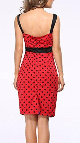 Smile YKK Femme Slim Décolleté Robe à Bretelles Nœud à deux Boucles Rouge