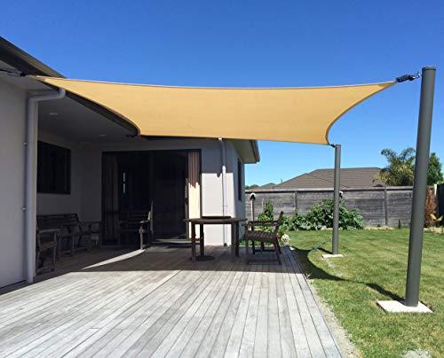 Axt shade tenda a vela impermeabile rettangolare 3 x 4m, parasole e protezione raggi uv, per esterni, cortile, giardino, colore sabbia