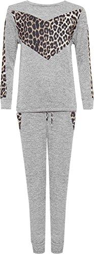röße Leopard Print Loungewear Set Stricken Jogger Anzug Top - Grau - 50-52 (Leopard Print Anzug)