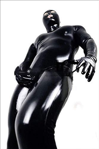 HIMFL Sexy Männer und Frauen Nasses Aussehen DS-Stufe Catsuit Gefangene Lackleder-Overalls Cosplay Party-Outfit Clubwear Handschuhe Maske Bodysuit Kleidung Schwarz,M