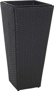 pflanzk bel blumenk bel polyrattan 28x28x60cm schwarz wasserdichter kunststoff garten. Black Bedroom Furniture Sets. Home Design Ideas