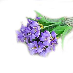 Rocita Flor Artificial Lirio Flores Plantas Artificiales Interior Exterior Colgante plantador casa jardín decoración Real Toque Ramo de Flor 1 Pieza púrpura