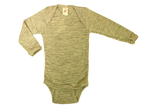 Wolle Feuchtigkeit (Baby Body langarm, Wolle Seide, Engel Natur, 2 Farben, Gr. 50/56 - 110/116 (50/56, Hellgrau melange))