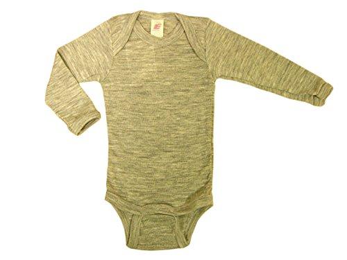 Baby Body langarm, Wolle Seide, Engel Natur, 2 Farben, Gr. 50/56 - 110/116 (74/80, Hellgrau melange) - Grau Wolle