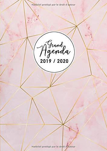 Grand Agenda 2019 2020: Agenda 17 mois 2019-20 - Agenda vertical semaine - grand format A4 - août 2019 à décembre 2020, motif motif abstrait marbre par Papeterie Collectif