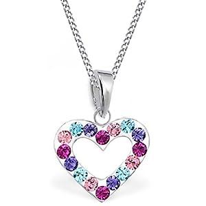 GH Kristall Herz Anhänger + Kette 925 Echt Silber Kinder Baby Mädchen Halskette