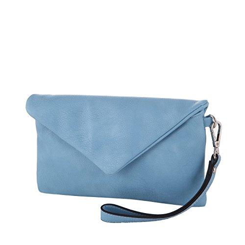 Loubs Clutch Kunstleder Abendtasche MA-144 in verschiedenen Farben Blau