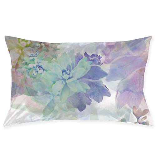 Xukmefat Chinese Pastel Watercolor Painting Pillowcase Microfiber Bedroom Throw Pillow Cover with Zippered 20x30Inches Size (Throw-kissen Fahne)
