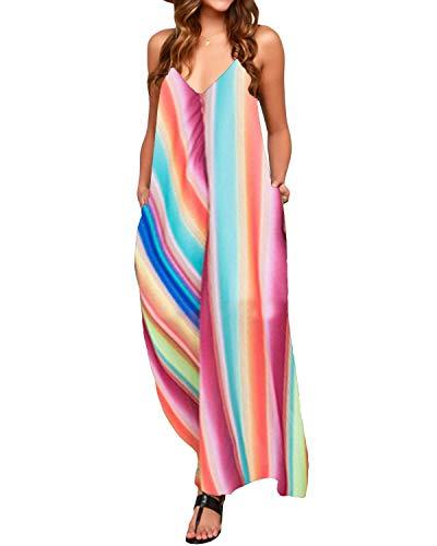 Zanzea Femme Robe Longue été Boheme élégante Chic Robe de Plage Femme Maxi Robe Grande Taille Col V à Fleur - 86694-rainbow1 - Taille EU 46