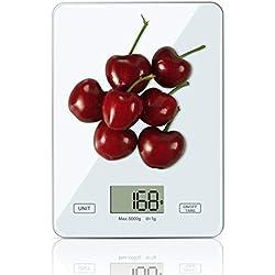 OTISA Balance de Cuisine Électronique ,Balance Alimentaire Numérique Professionnelle 5 kg/1g,LCD Rétroéclairé, Arrêt Automatique et Fonction de Tare,avec Piles fournies-Blanc