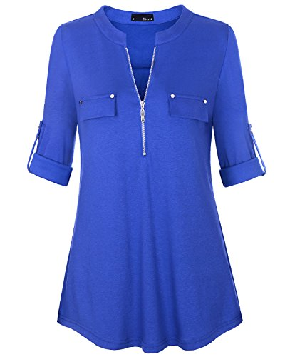 Miurus Damen Tuniken Tops, Fashion Ausschnitt Hals Manschette Ärmel Blusen Medium Navy Blau mit Reißverschluss Freizeit Sweatershirts Hemd Tunika (Jersey Mutterschaft Floral)